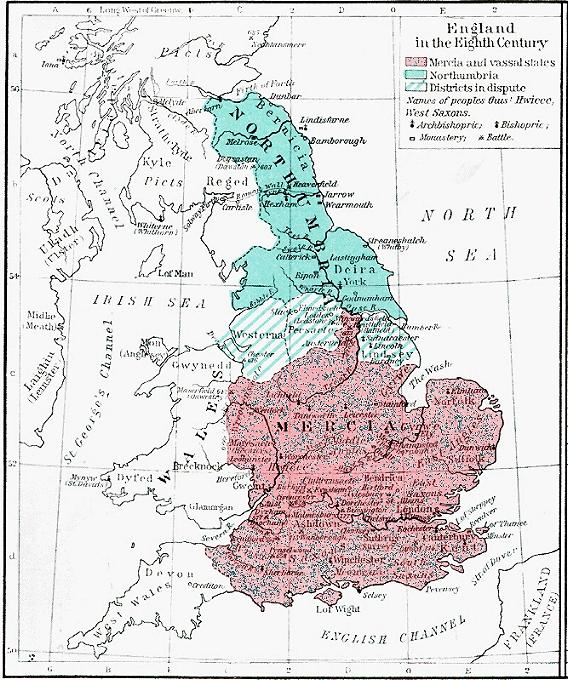 Map Of England Northumbria.Maps For The Old English Period
