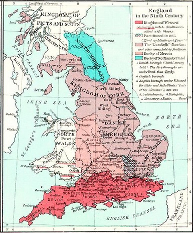 Map Of England King Alfred.The Dialects Of Old English