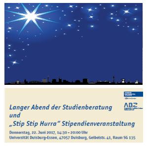 Titelbild des Flyer Langer Abend der Studienberatung & Stip Stip Hurra! -Stipendienveranstaltung