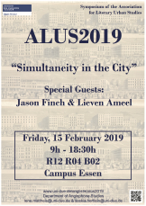 Poster informing about the 2019 ALUS Symposium Simultaneity in the City at the University of Duisburg-Essen in February 2019