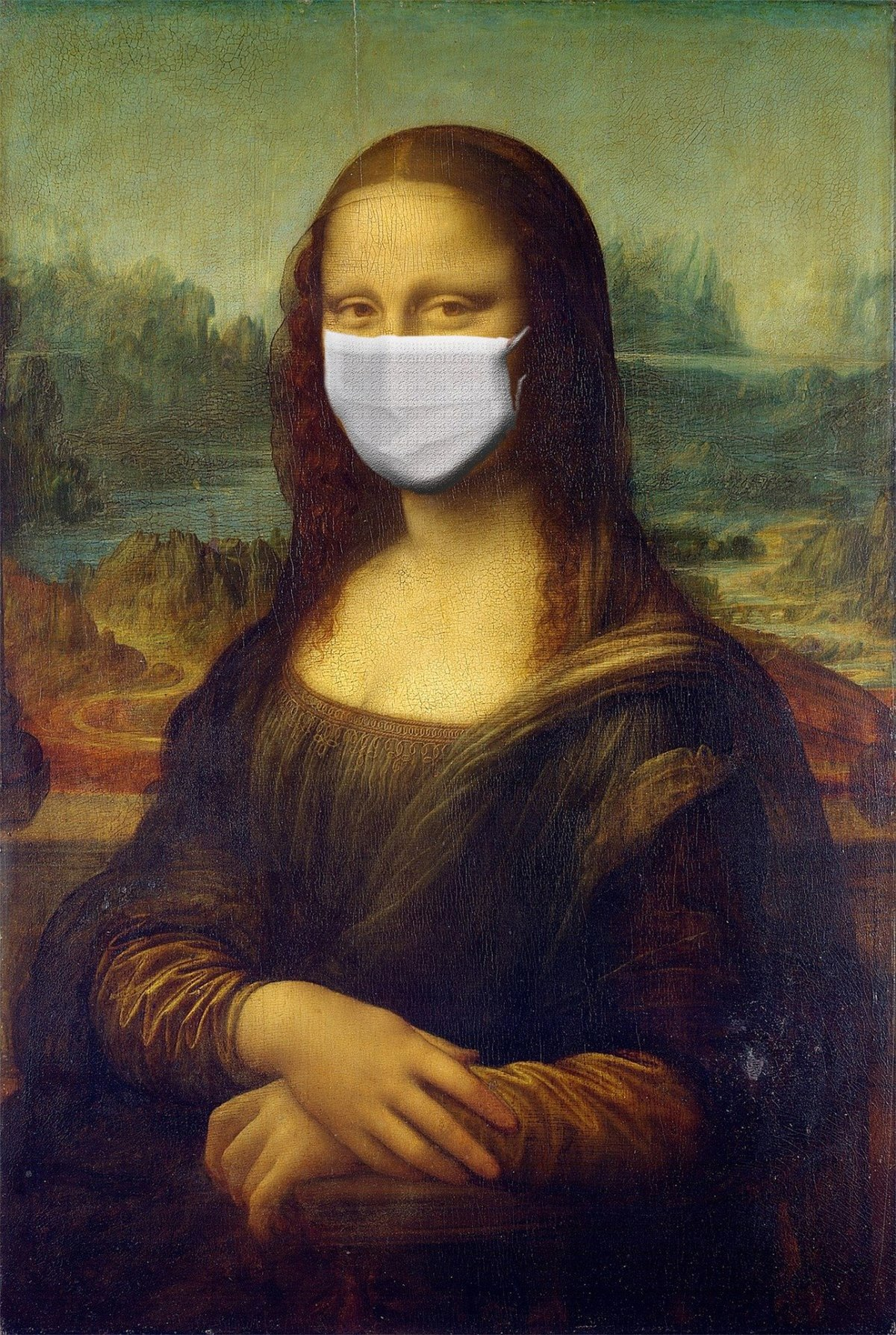 The picture shows the famous Mona Lisa wearing an anti infection mask.