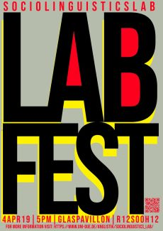 The poster announces the Sociolinguistics LabFest on 9 April 2019, 5pm at the Glaspavillion.