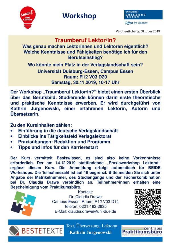 "Poster für den Workshop ""Traumberuf Lektor/in?"""
