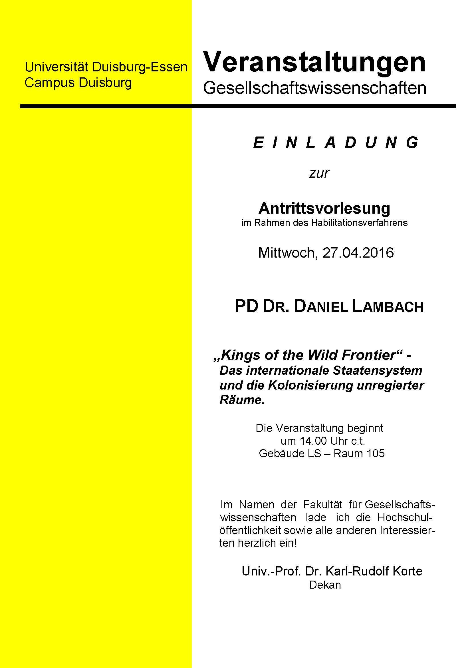 März 2016 Einladung Zur Antrittsvorlesung Von Daniel Lambach