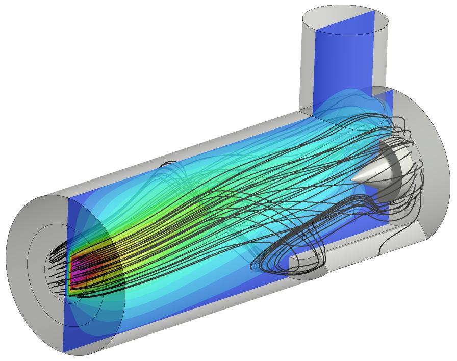 Stromlinien und Contourplot der Temperatur in einem laminaren Niederdruck-Flammenreaktor