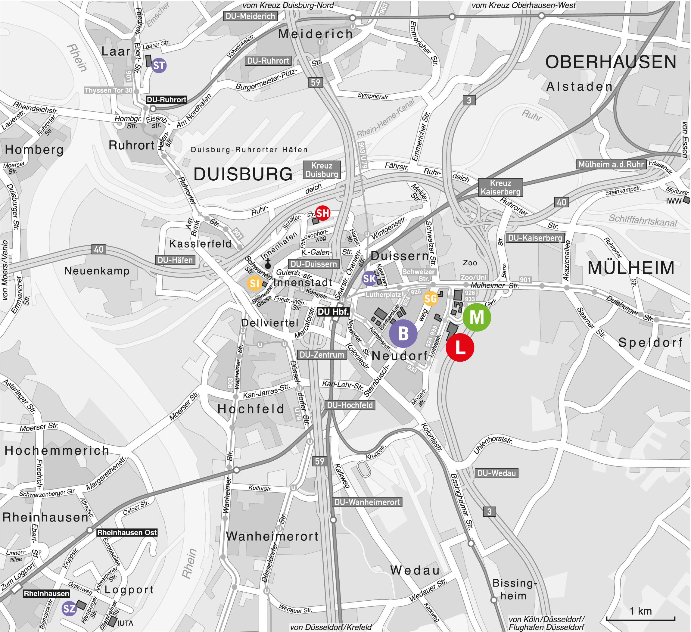 Lageplan Standorte Duisburg