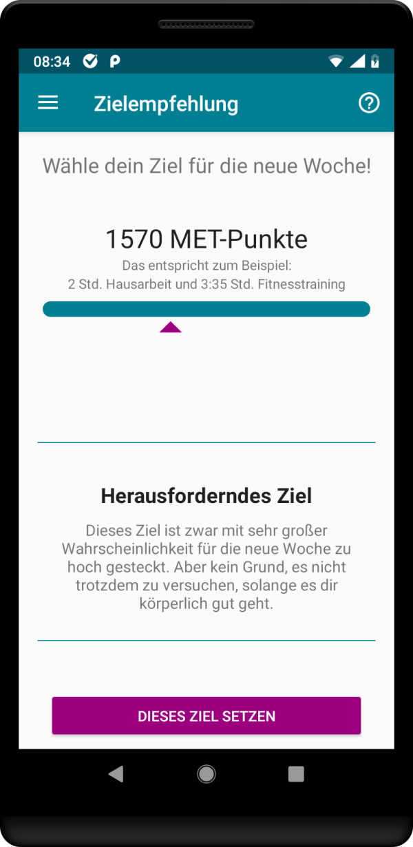 Screenshot aus der Applikation MyExcerciseTracker