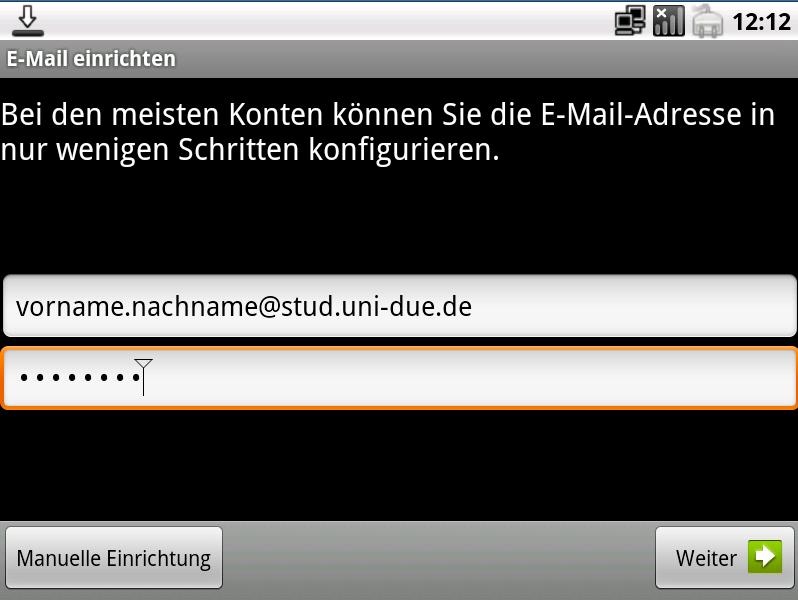 Konfigurationsanleitung für E-Mail auf Android Geräte (mailbox-Server)