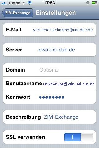 how to get uni email on iphone