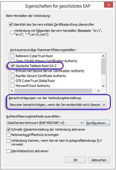 Konfiguration von eduroam unter Windows 8
